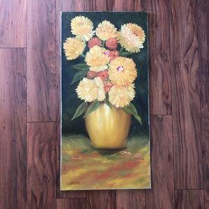 Vintage Floral Mums Canvas Art by L. Amaral